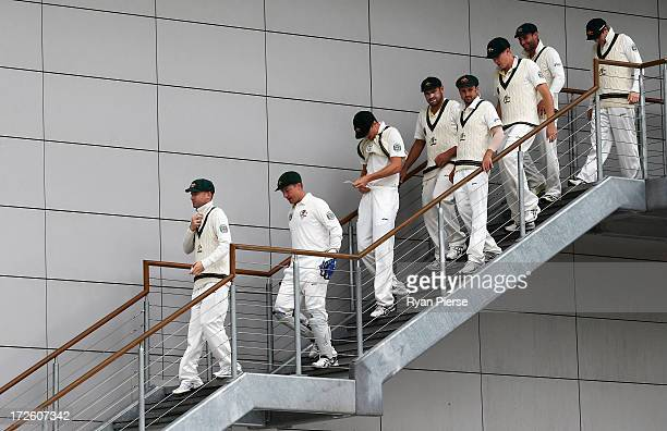 Michael Clarke of Australia leads his team onto the field during day three of the Tour Match between Worcestershire and Australia at New Road on July...