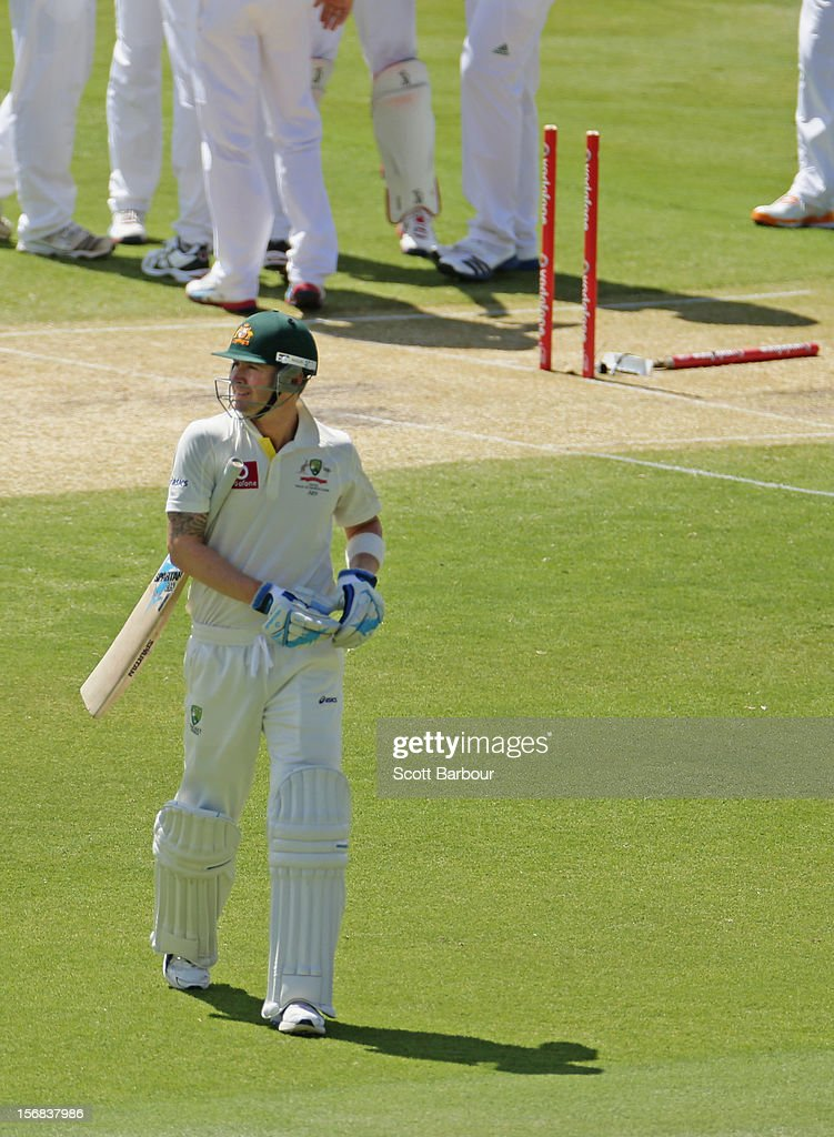 Michael Clarke of Australia leaves the field after being dismissed during day two of the Second Test match between Australia and South Africa at Adelaide Oval on November 23, 2012 in Adelaide, Australia.