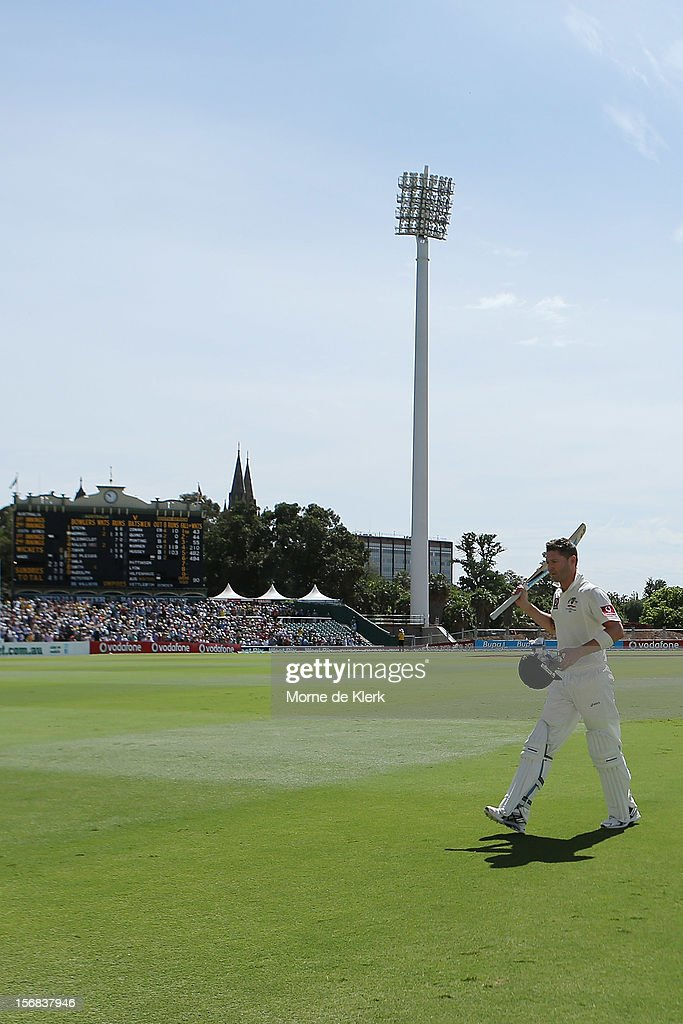 Michael Clarke of Australia leaves the field after getting out during day two of the Second Test match between Australia and South Africa at Adelaide Oval on November 23, 2012 in Adelaide, Australia.