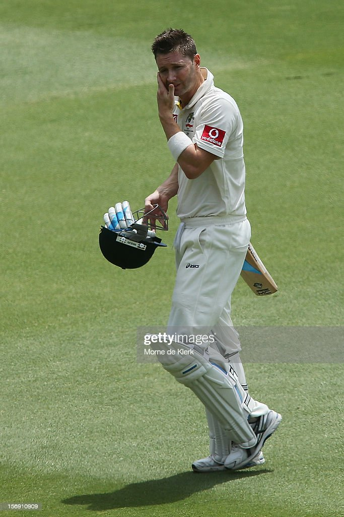 Michael Clarke of Australia leaves the field after getting out during day four of the Second Test Match between Australia and South Africa at Adelaide Oval on November 25, 2012 in Adelaide, Australia.