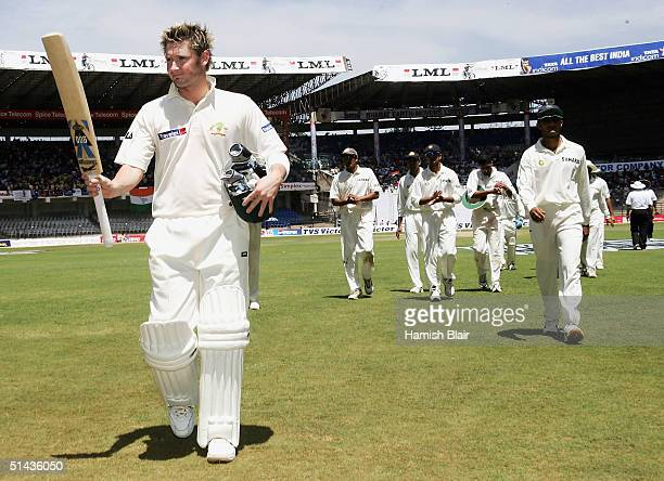 Michael Clarke of Australia leaves the field at lunch 111 not out during day two of the First Test between India and Australia played at the...
