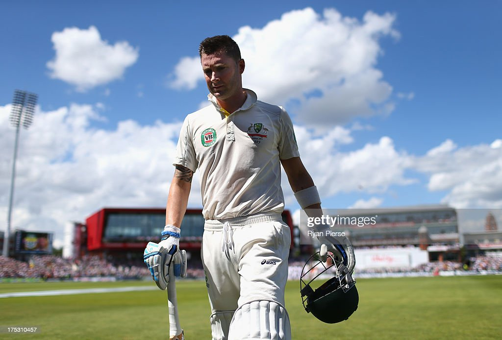 <a gi-track='captionPersonalityLinkClicked' href=/galleries/search?phrase=Michael+Clarke+-+Cricketspeler&family=editorial&specificpeople=175853 ng-click='$event.stopPropagation()'>Michael Clarke</a> of Australia leaves the ground after being dismissed for 187 runs by Stuart Broad of England during day two of the 3rd Investec Ashes Test match between England and Australia at Emirates Old Trafford Cricket Ground on August 2, 2013 in Manchester, England.