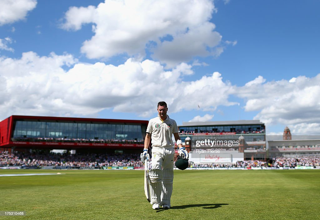 Michael Clarke of Australia leaves the ground after being dismissed for 187 runs by Stuart Broad of England during day two of the 3rd Investec Ashes Test match between England and Australia at Emirates Old Trafford Cricket Ground on August 2, 2013 in Manchester, England.