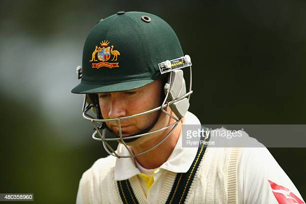Michael Clarke of Australia looks dejected after being dismissed by Stuart Broad of England during day four of the 1st Investec Ashes Test match...