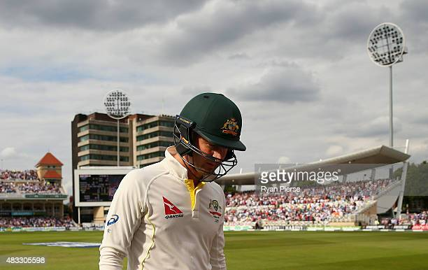 Michael Clarke of Australia looks dejected after being dismissed by Mark Wood of England during day two of the 4th Investec Ashes Test match between...