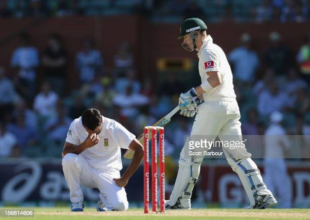 Michael Clarke of Australia looks on after hitting Imran Tahir of South Africa for a boundary during day one of the 2nd Test match between Australia...