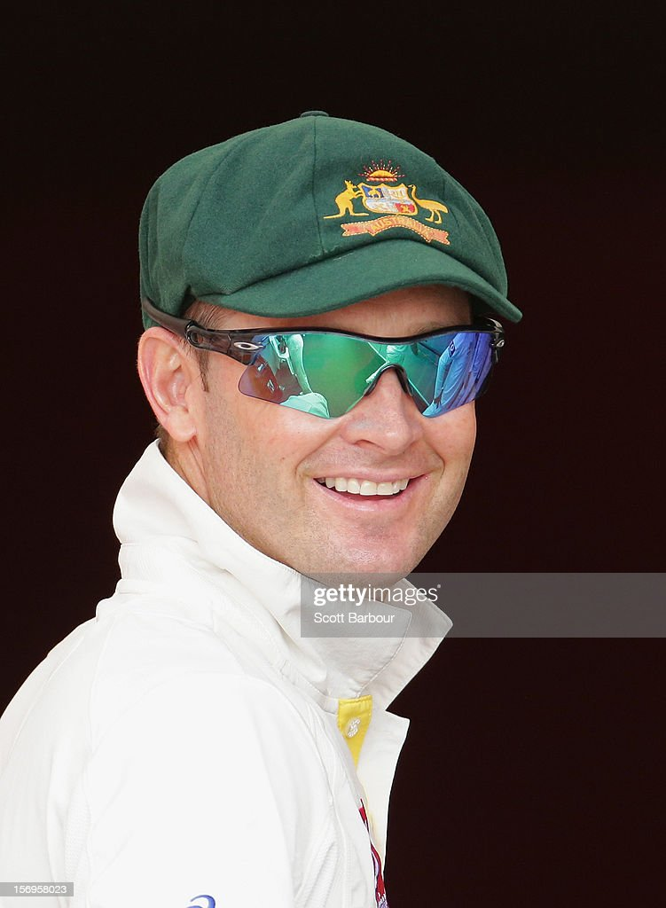 Michael Clarke of Australia looks on during day five of the Second Test Match between Australia and South Africa at Adelaide Oval on November 26, 2012 in Adelaide, Australia.