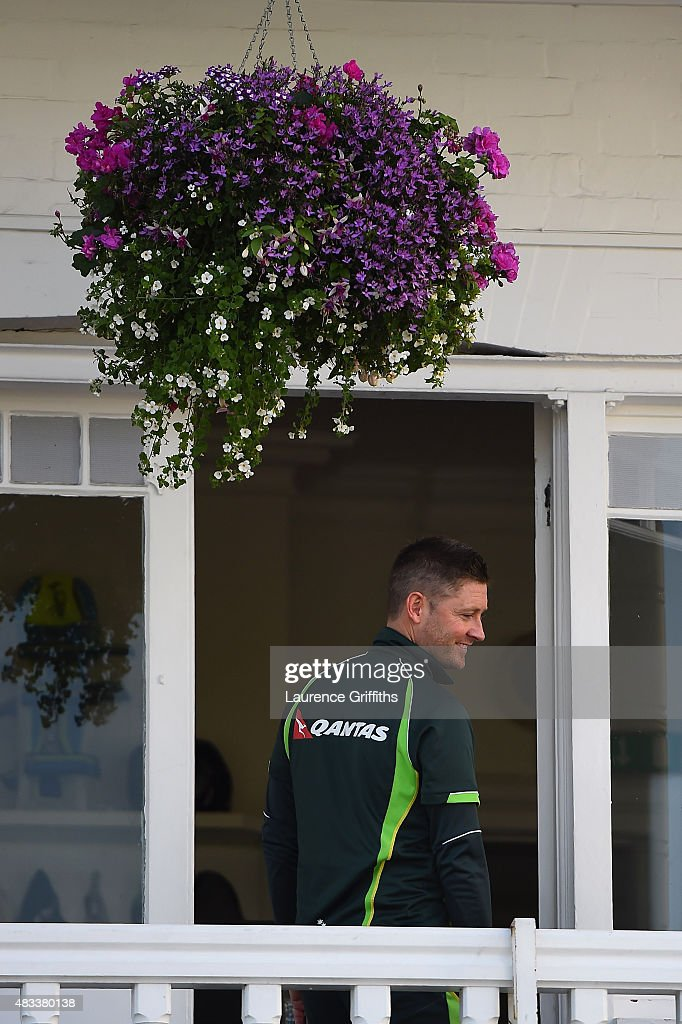 <a gi-track='captionPersonalityLinkClicked' href=/galleries/search?phrase=Michael+Clarke+-+Cricketspeler&family=editorial&specificpeople=175853 ng-click='$event.stopPropagation()'>Michael Clarke</a> of Australia looks on from the players balcony prior to day three of the 4th Investec Ashes Test match between England and Australia at Trent Bridge on August 8, 2015 in Nottingham, United Kingdom.