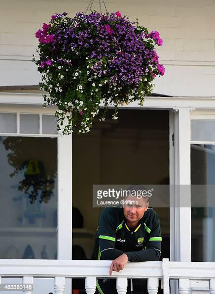 Michael Clarke of Australia looks on from the players balcony prior to day three of the 4th Investec Ashes Test match between England and Australia...