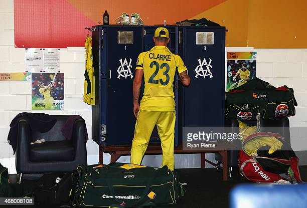 Michael Clarke of Australia packs up his gear in the change rooms after the 2015 ICC Cricket World Cup final match between Australia and New Zealand...