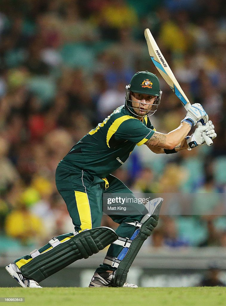 Michael Clarke of Australia plays a cut shot during game four of the Commonwealth Bank One Day International Series between Australia and the West Indies at Sydney Cricket Ground on February 8, 2013 in Sydney, Australia.