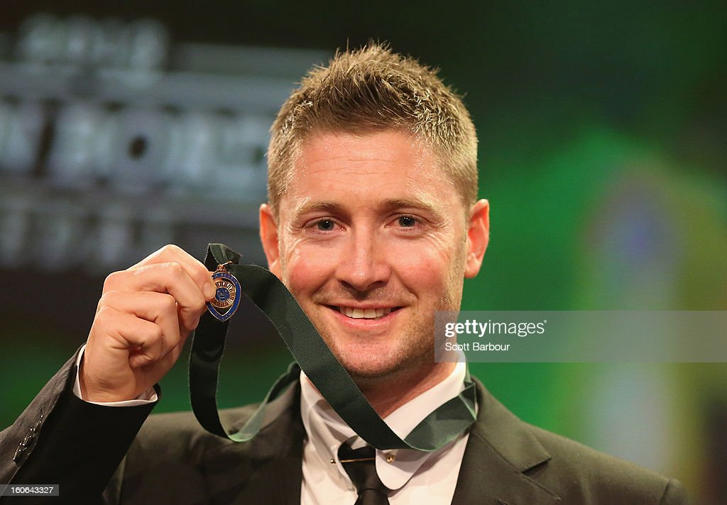 Michael Clarke of Australia poses after winning the Allan Border Medal during the 2013 Allan Border Medal awards ceremony at Crown Palladium on February 4, 2013 in Melbourne, Australia.