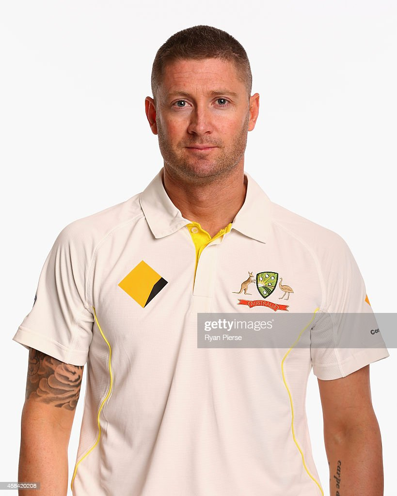 <a gi-track='captionPersonalityLinkClicked' href=/galleries/search?phrase=Michael+Clarke+-+Cricketspeler&family=editorial&specificpeople=175853 ng-click='$event.stopPropagation()'>Michael Clarke</a> of Australia poses during the Australia Test team headshots session at the Intercontinental Hotel on August 11, 2014 in Sydney, Australia.