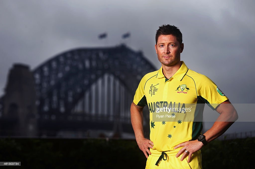 <a gi-track='captionPersonalityLinkClicked' href=/galleries/search?phrase=Michael+Clarke+-+Cricketspeler&family=editorial&specificpeople=175853 ng-click='$event.stopPropagation()'>Michael Clarke</a> of Australia poses during the Australian 2015 Cricket World Cup squad announcement at Museum of Contemporary Art on January 11, 2015 in Sydney, Australia.