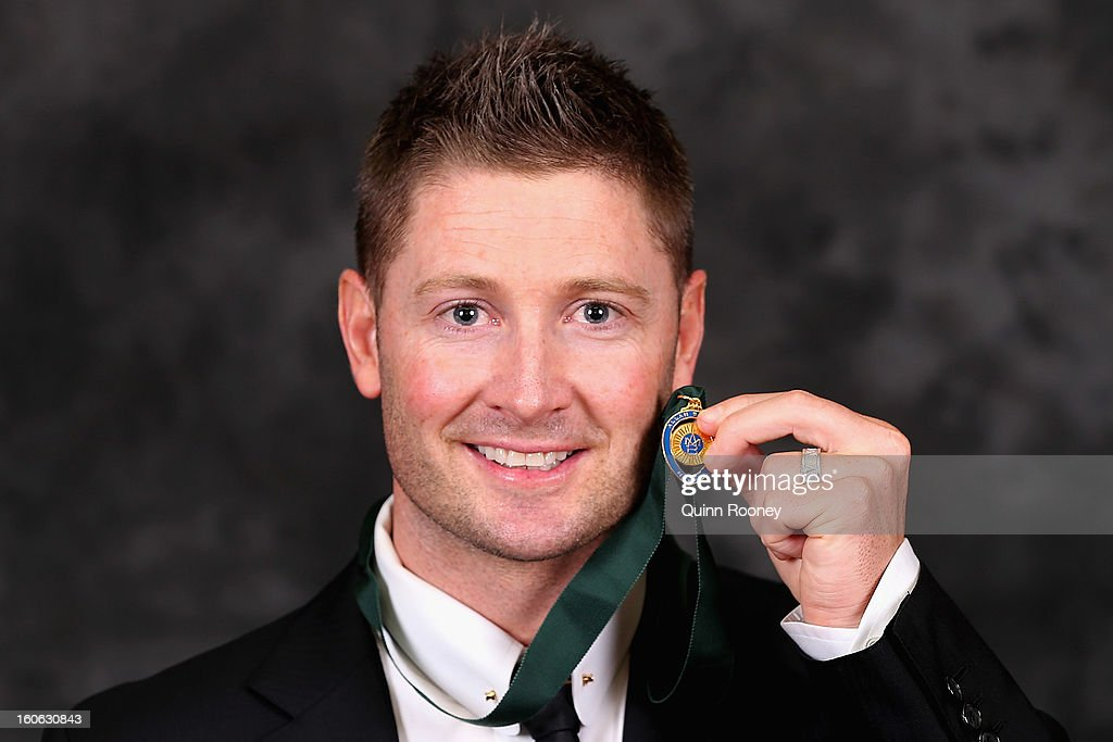 <a gi-track='captionPersonalityLinkClicked' href=/galleries/search?phrase=Michael+Clarke+-+Cricketspeler&family=editorial&specificpeople=175853 ng-click='$event.stopPropagation()'>Michael Clarke</a> of Australia poses poses after winning the Allan Border Medal at the 2013 Allan Border Medal awards ceremony at Crown Palladium on February 4, 2013 in Melbourne, Australia.