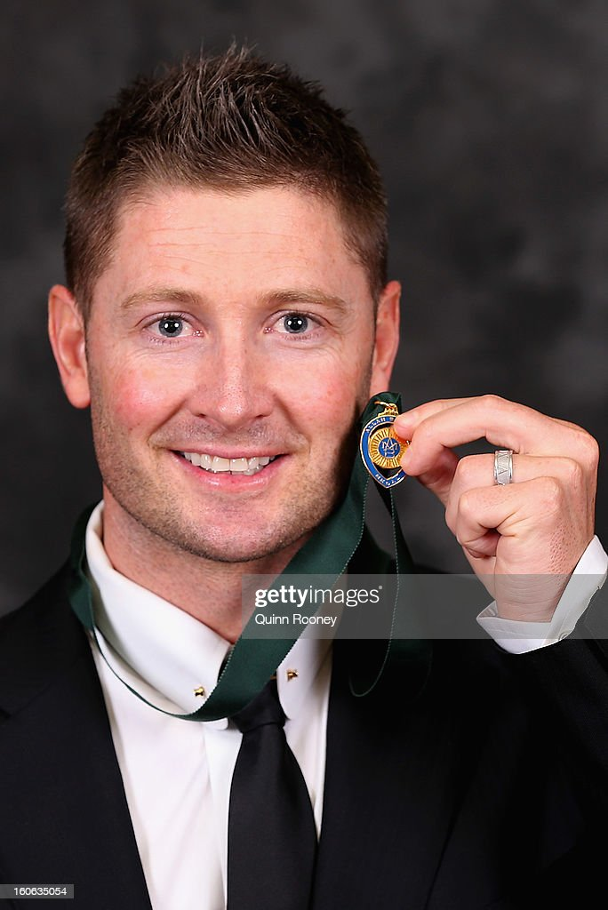 Michael Clarke of Australia poses poses after winning the Allan Border Medal at the 2013 Allan Border Medal awards ceremony at Crown Palladium on February 4, 2013 in Melbourne, Australia.