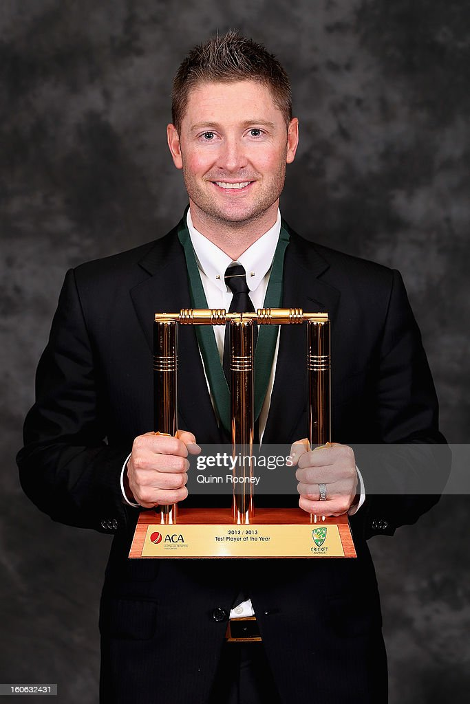 <a gi-track='captionPersonalityLinkClicked' href=/galleries/search?phrase=Michael+Clarke+-+Cricketspeler&family=editorial&specificpeople=175853 ng-click='$event.stopPropagation()'>Michael Clarke</a> of Australia poses with his trophy after being named the Test Player of the Year at the 2013 Allan Border Medal awards ceremony at Crown Palladium on February 4, 2013 in Melbourne, Australia.