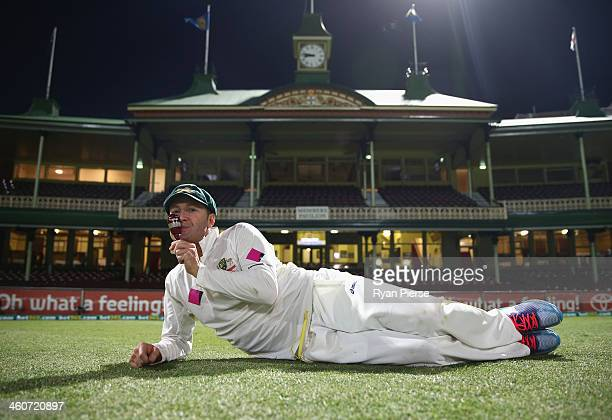 Michael Clarke of Australia poses with the urn after day three of the Fifth Ashes Test match between Australia and England at Sydney Cricket Ground...