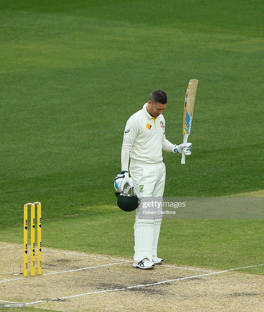 <a gi-track='captionPersonalityLinkClicked' href=/galleries/search?phrase=Michael+Clarke+-+Cricket+Player&family=editorial&specificpeople=175853 ng-click='$event.stopPropagation()'>Michael Clarke</a> of Australia raises his bat after scoring his century during day two of the First Test match between Australia and India at Adelaide Oval on December 10, 2014 in Adelaide, Australia.