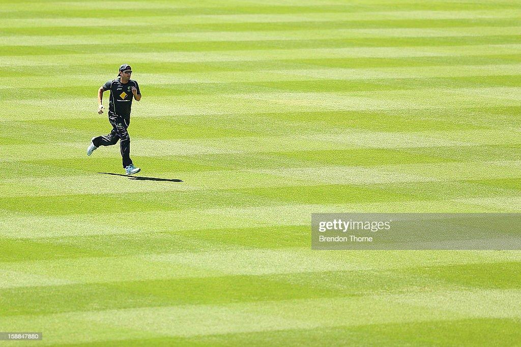 Michael Clarke of Australia runs during an Australian training session at Sydney Cricket Ground on January 1, 2013 in Sydney, Australia.