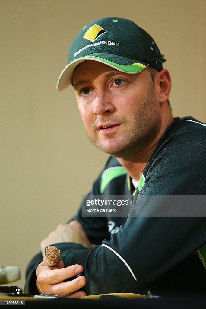 <a gi-track='captionPersonalityLinkClicked' href=/galleries/search?phrase=Michael+Clarke+-+Cricket+Player&family=editorial&specificpeople=175853 ng-click='$event.stopPropagation()'>Michael Clarke</a> of Australia speak to media during a press conference after day 2 of the third test match between South Africa and Australia at Sahara Park Newlands on March 2, 2014 in Cape Town, South Africa.
