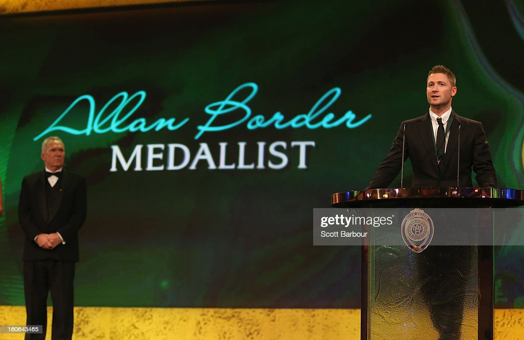 Michael Clarke (R) of Australia speaks after winning the Allan Border Medal as Allan Border (L) looks on during the 2013 Allan Border Medal awards ceremony at Crown Palladium on February 4, 2013 in Melbourne, Australia.