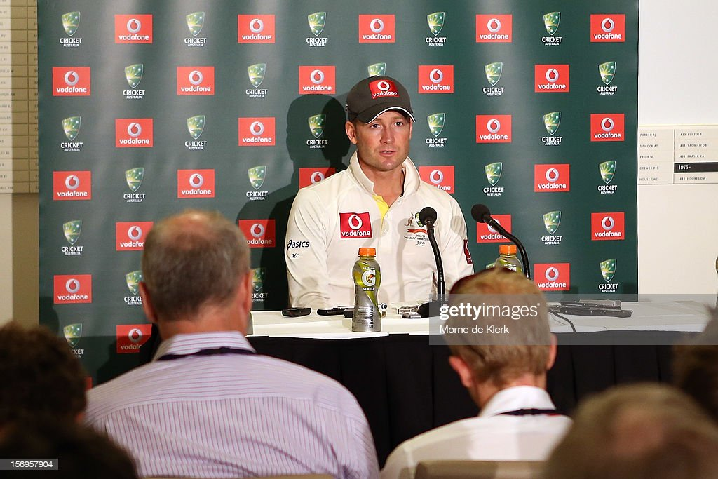Michael Clarke of Australia speaks during a post match press conference after day five of the Second Test Match between Australia and South Africa at Adelaide Oval on November 26, 2012 in Adelaide, Australia.