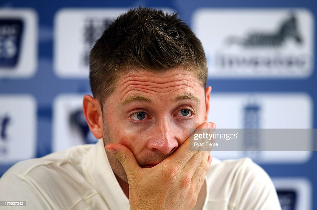 <a gi-track='captionPersonalityLinkClicked' href=/galleries/search?phrase=Michael+Clarke+-+Cricket+Player&family=editorial&specificpeople=175853 ng-click='$event.stopPropagation()'>Michael Clarke</a> of Australia speaks during the Press Conference after day five of the 3rd Investec Ashes Test match between England and Australia at Emirates Old Trafford Cricket Ground on August 5, 2013 in Manchester, England.
