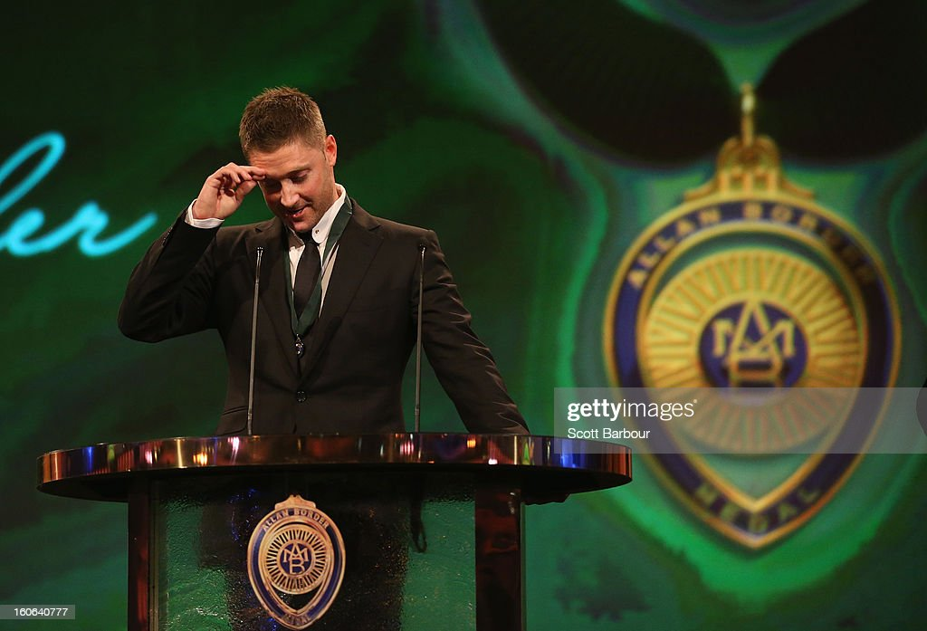 Michael Clarke of Australia speaks on stage after winning the Allan Border Medal during the 2013 Allan Border Medal awards ceremony at Crown Palladium on February 4, 2013 in Melbourne, Australia.