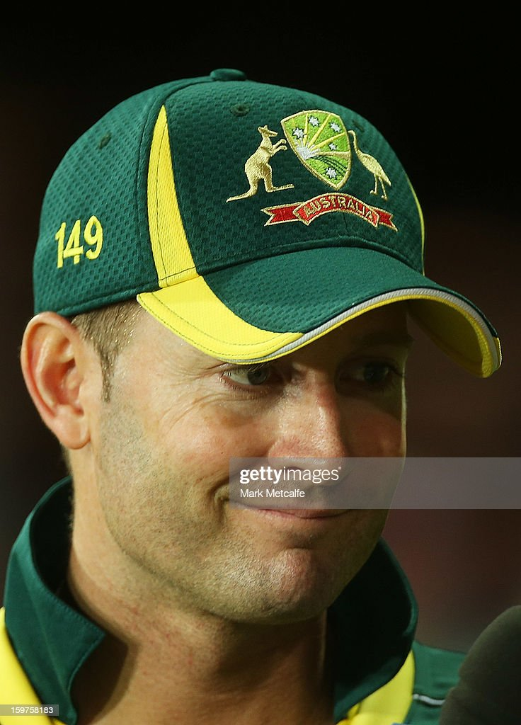 Michael Clarke of Australia speaks to the media after the abandonment of game four of the Commonwealth Bank one day international series between Australia and Sri Lanka at Sydney Cricket Ground on January 20, 2013 in Sydney, Australia.