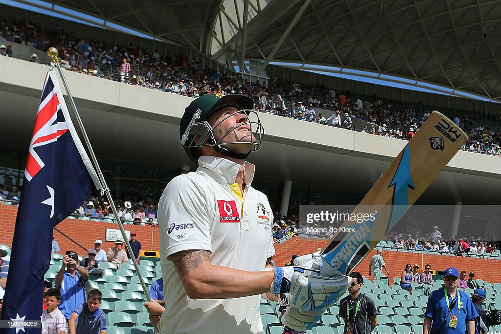 Michael Clarke of Australia takes to the field during day four of the Second Test Match between Australia and South Africa at Adelaide Oval on November 25, 2012 in Adelaide, Australia.
