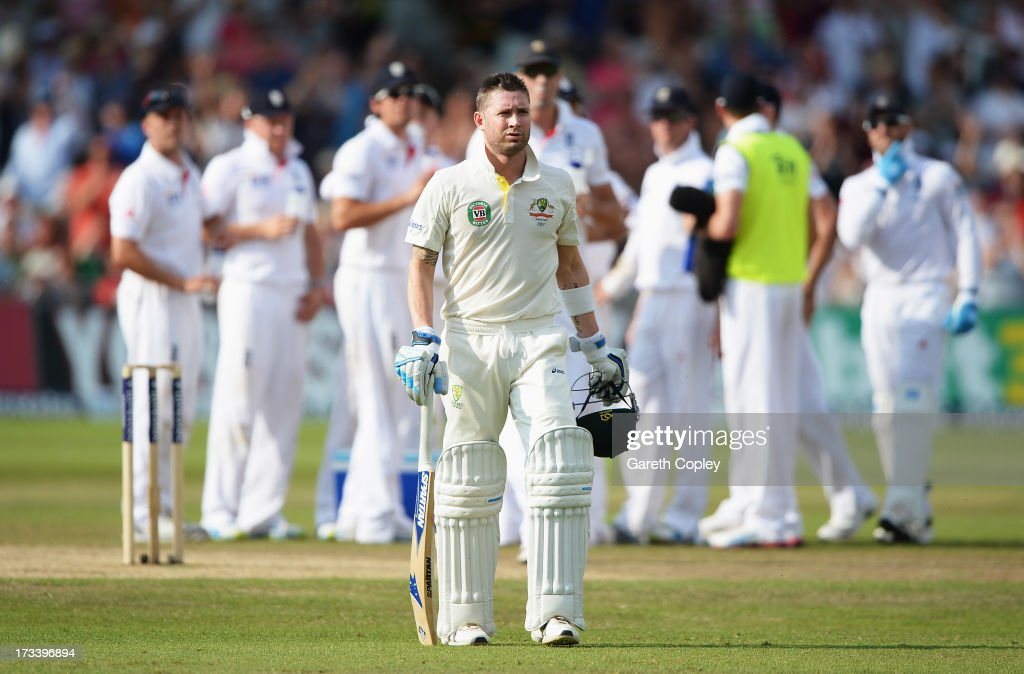 Michael Clarke of Australia walks back after being dismissed by Stuart Broad of England during day four of the 1st Investec Ashes Test match between England and Australia at Trent Bridge Cricket Ground on July 13, 2013 in Nottingham, England.