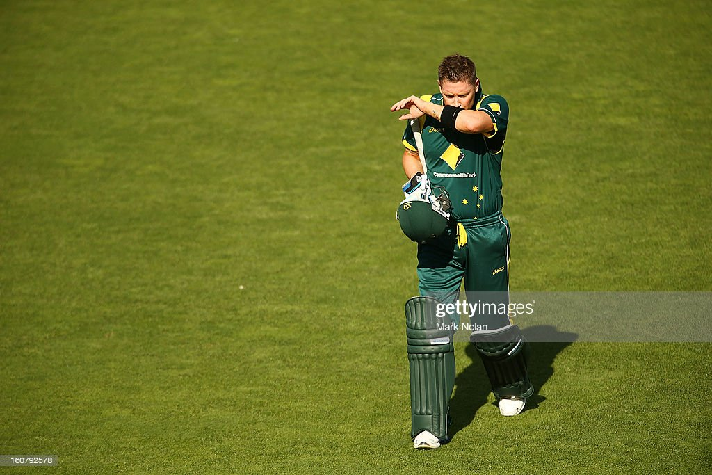Michael Clarke of Australia walks from the field after being dismissed during the Commonwealth Bank One Day International Series between Australia and the West Indies at Manuka Oval on February 6, 2013 in Canberra, Australia.