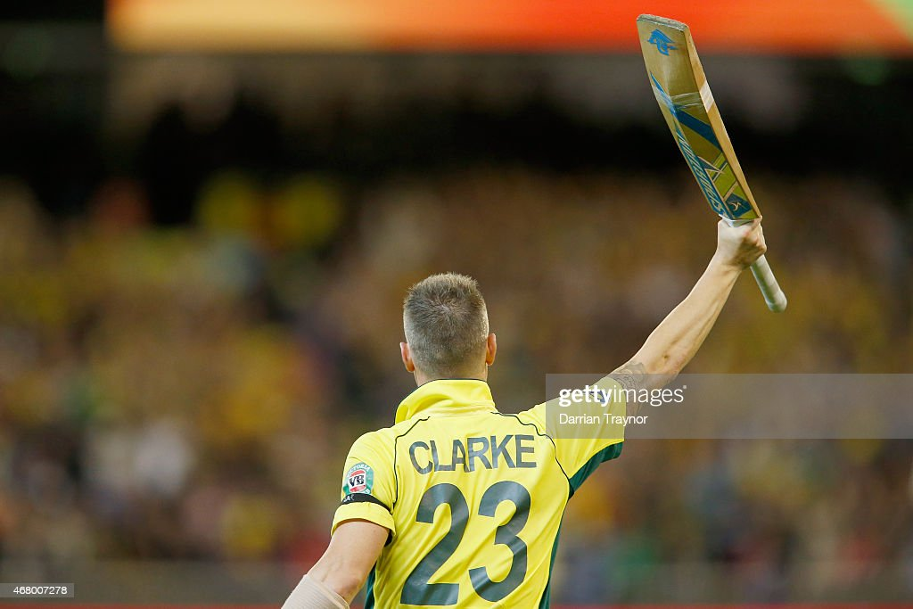 Michael Clarke of Australia walks from the field after being dismissed in his final ODI during the 2015 ICC Cricket World Cup final match between...