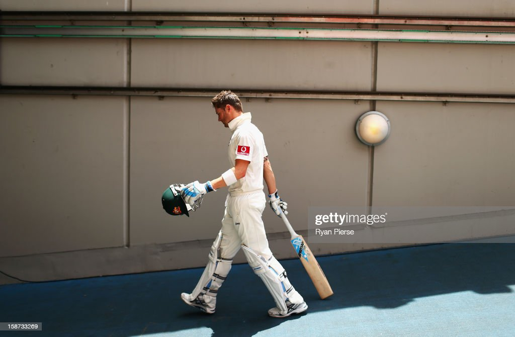 Michael Clarke of Australia walks from the ground at the lunch break having just become the highest scoring Australian batsman in a year during day two of the Second Test match between Australia and Sri Lanka at Melbourne Cricket Ground on December 27, 2012 in Melbourne, Australia.