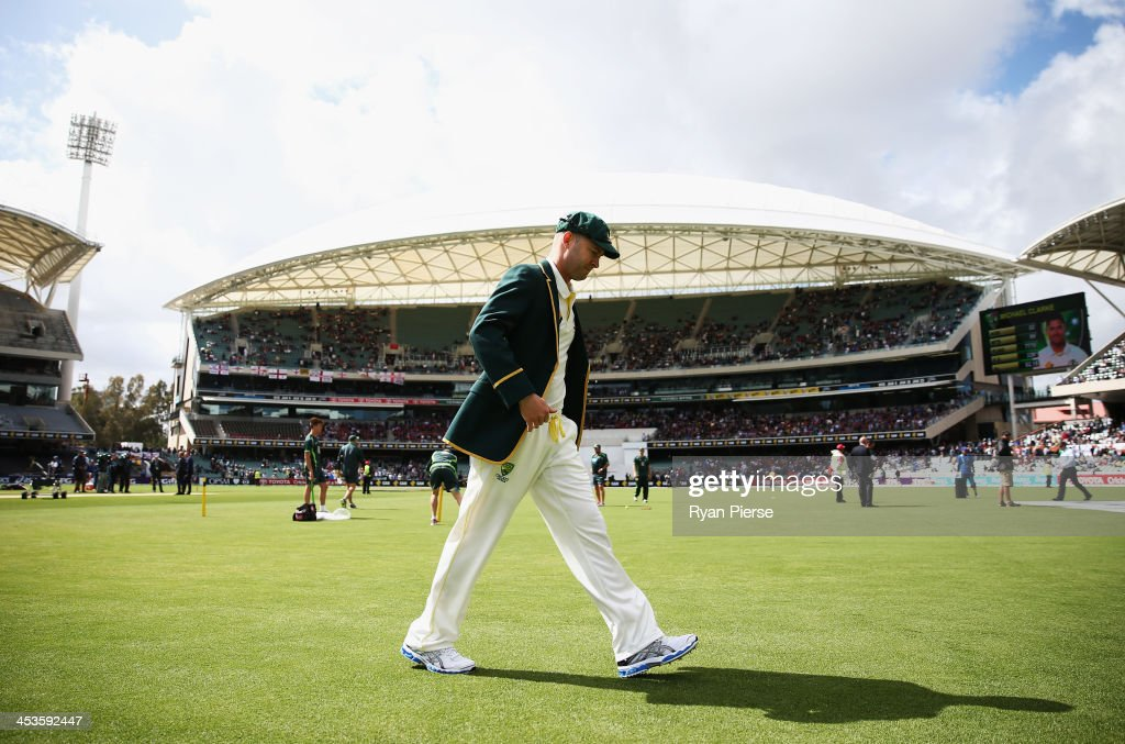 Michael Clarke of Australia walks out for the coin toss during day one of the Second Ashes Test Match between Australia and England at Adelaide Oval on December 5, 2013 in Adelaide, Australia.