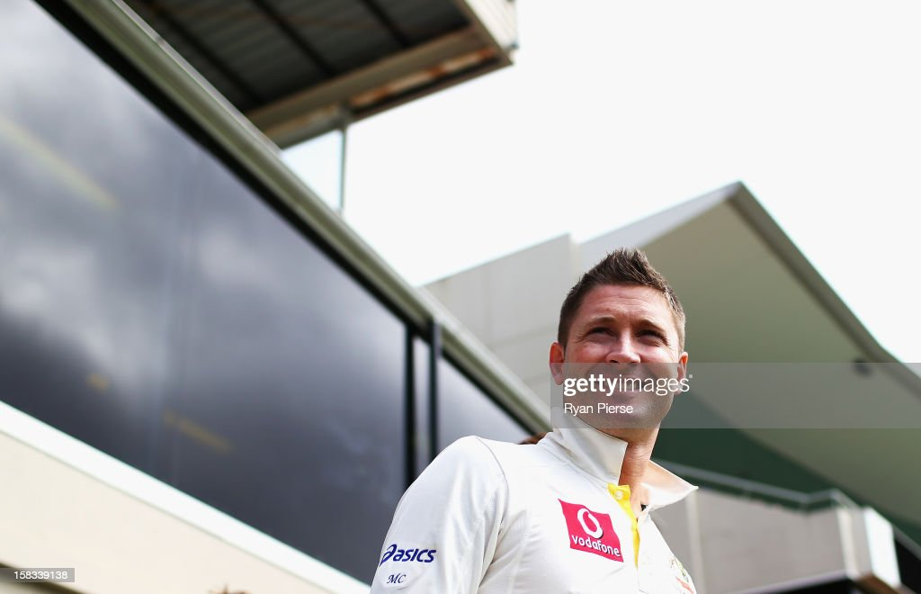 Michael Clarke of Australia walks out onto the field during day one of the First Test match between Australia and Sri Lanka at Blundstone Arena on December 14, 2012 in Hobart, Australia.