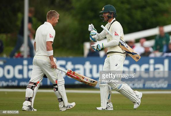 Michael Clarke of Australia walks out to bat after David Warner of Australia retired after reaching his century during day one of the Tour Match...