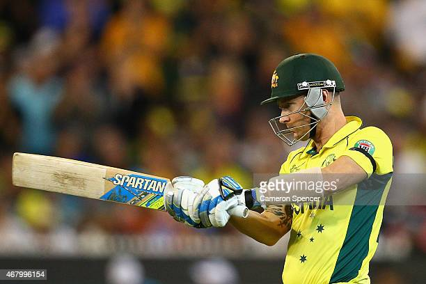Michael Clarke of Australia walks out to bat during the 2015 ICC Cricket World Cup final match between Australia and New Zealand at Melbourne Cricket...