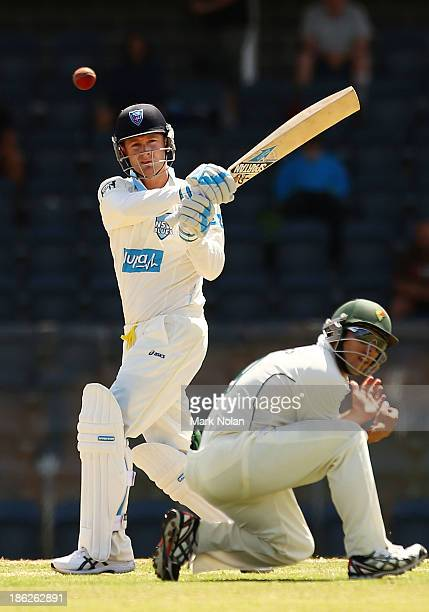 Michael Clarke of the Blues bats during day one of the Sheffield Shield match between the New South Wales Blues and the Tasmania Tigers at Blacktown...