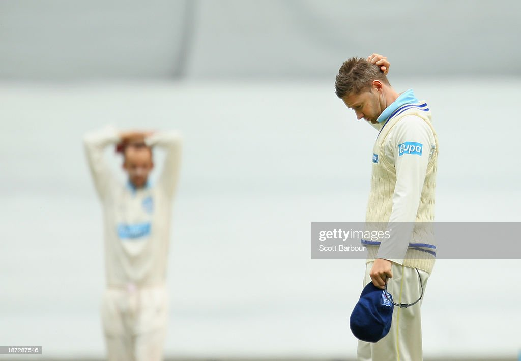 <a gi-track='captionPersonalityLinkClicked' href=/galleries/search?phrase=Michael+Clarke+-+Cricket+Player&family=editorial&specificpeople=175853 ng-click='$event.stopPropagation()'>Michael Clarke</a> of the Blues reacts after a Nathan Lyon delivery almost took a wicket during day three of the Sheffield Shield match between the Victoria Bushrangers and the New South Wales Blues at the Melbourne Cricket Ground on November 8, 2013 in Melbourne, Australia.