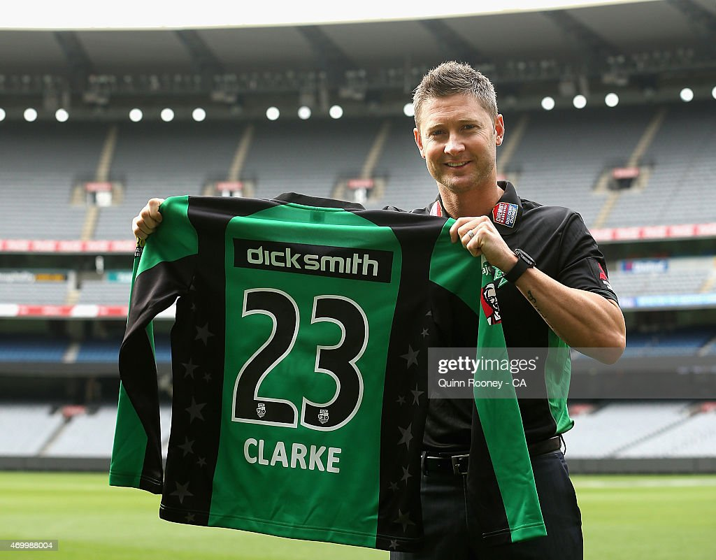 Michael Clarke of the Stars poses during a Melbourne Stars press conference at Melbourne Cricket Ground on April 17, 2015 in Melbourne, Australia.