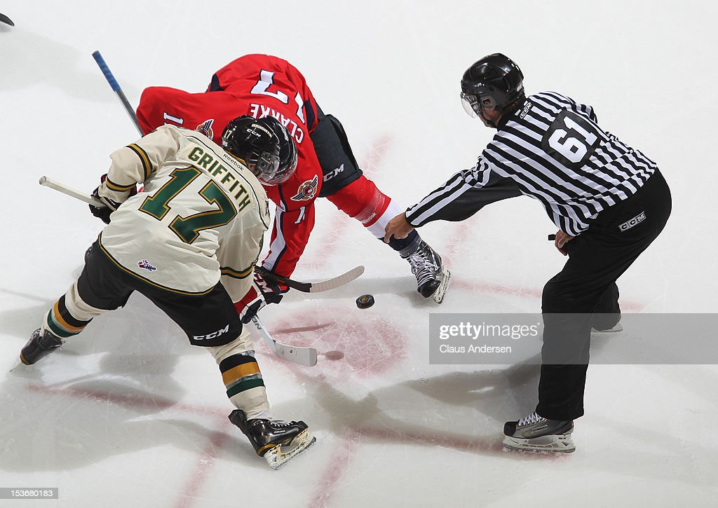 Michael Clarke #17 of the Windsor Spitfires takes a faceoff against Seth Griffith #17 of the London Knights in an OHL game on October 5, 2012 at the Budweiser Gardens in London, Canada. The Knights defeated the Spitfires 8-2.
