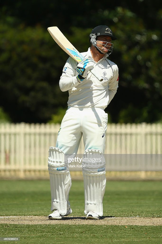 <a gi-track='captionPersonalityLinkClicked' href=/galleries/search?phrase=Michael+Clarke+-+Joueur+de+cricket&family=editorial&specificpeople=175853 ng-click='$event.stopPropagation()'>Michael Clarke</a> of Wests laughs as he bats in the Sydney Grade game between Western Suburbs and Gordon at Chatswood Oval on January 31, 2015 in Sydney, Australia. Clarke is playing for his club side in a bid to prove his fitness for the Australian team's 2015 ICC Cricket World Cup campaign as part of his continued recovery from surgery to his right hamstring.
