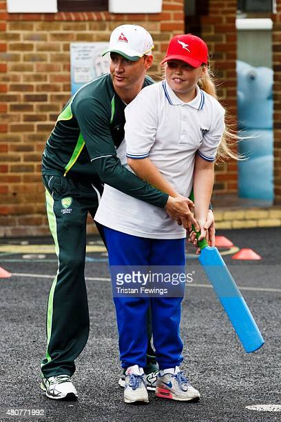 Michael Clarke plays cricket with school children at St Edwards RC Primary School Westminster as the Australian Cricket Captain and Qantas Ambassador...