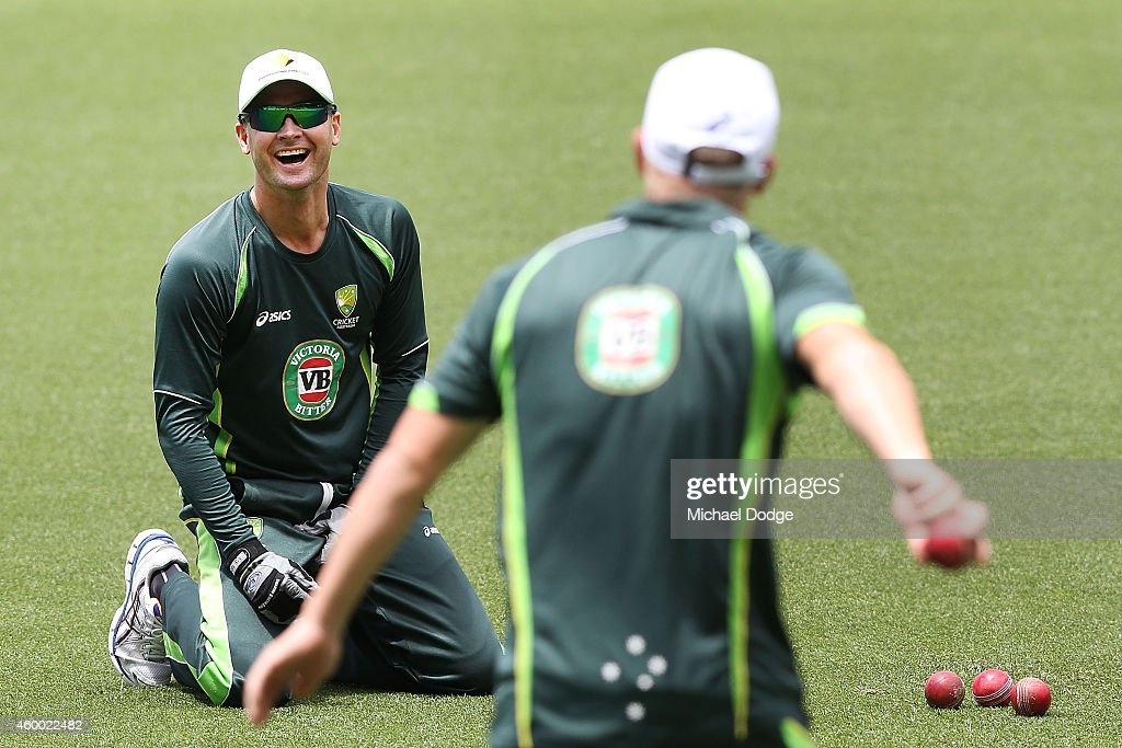 <a gi-track='captionPersonalityLinkClicked' href=/galleries/search?phrase=Michael+Clarke+-+Cricketspeler&family=editorial&specificpeople=175853 ng-click='$event.stopPropagation()'>Michael Clarke</a> reacts to <a gi-track='captionPersonalityLinkClicked' href=/galleries/search?phrase=David+Warner+-+Cricketspeler&family=editorial&specificpeople=4262255 ng-click='$event.stopPropagation()'>David Warner</a> during an Australian nets session at Adelaide Oval on December 6, 2014 in Adelaide, Australia.