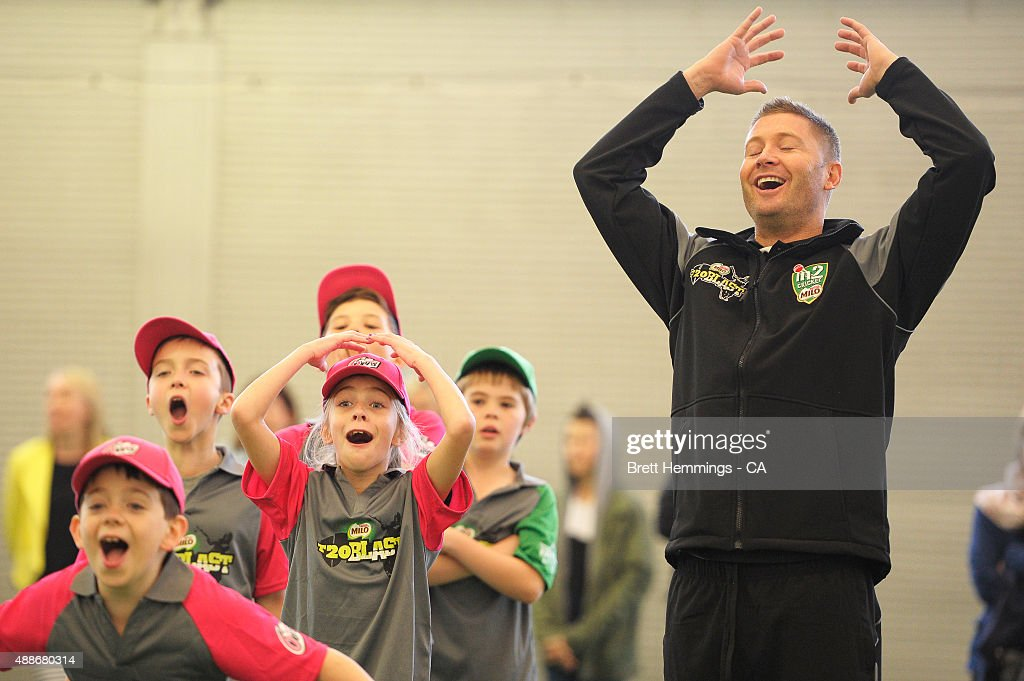 Michael Clarke reacts while participating in activities during the Cricket Australia MILO Junior Programs Launch at Sydney Cricket Ground on September 17, 2015 in Sydney, Australia.