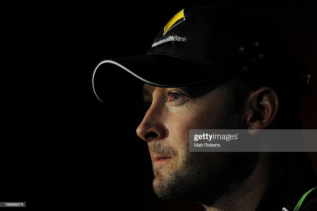 <a gi-track='captionPersonalityLinkClicked' href=/galleries/search?phrase=Michael+Clarke+-+Cricketspeler&family=editorial&specificpeople=175853 ng-click='$event.stopPropagation()'>Michael Clarke</a> speaks during a press conference after an Australian training session at The Gabba on January 17, 2013 in Brisbane, Australia.