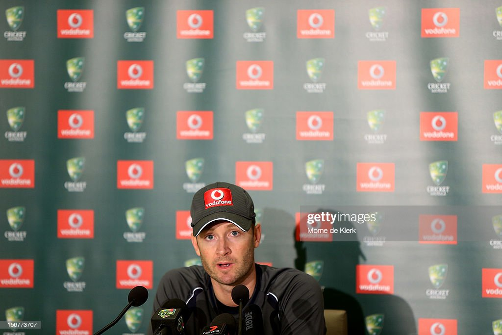 Michael Clarke speaks to the media during a press conference after an Australian training session at Adelaide Oval on November 21, 2012 in Adelaide, Australia.