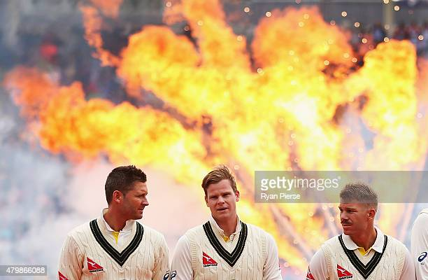 Michael Clarke Steve Smith and David Warner of Australia look on during the opening ceremony during the during day one of the 1st Investec Ashes Test...